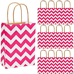 Hot Pink Chevron Gift Bags