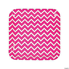 Hot Pink Chevron Paper Dinner Plates