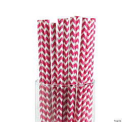 Hot Pink Chevron Paper Straws