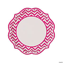 Hot Pink Chevron Scalloped Dinner Plates