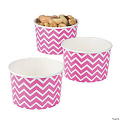 Hot Pink Chevron Snack Paper Bowls