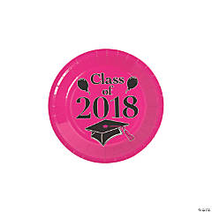 Hot Pink Class of 2018 Grad Party Dessert Paper Plates