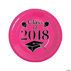 Hot Pink Class of 2018 Grad Party Dinner Paper Plates