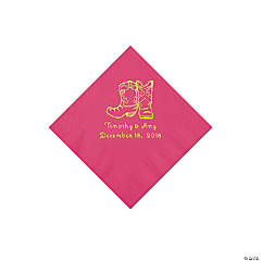 Hot Pink Cowboy Boots Personalized Napkins with Gold Foil - Beverage