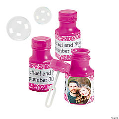 Hot Pink Custom Photo Hexagon Bubble Bottles