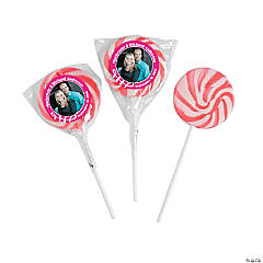 Hot Pink Custom Photo Swirl Lollipops