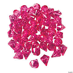 Hot Pink Diamond-Shaped Acrylic Gems