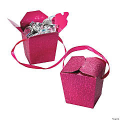 Hot Pink Glitter Take Out Boxes