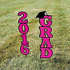 2016 Hot Pink Grad Yard Sign