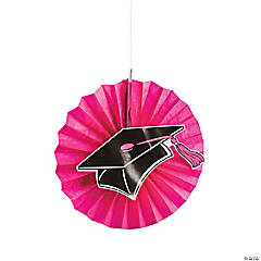Hot Pink Graduation Hanging Fans with Icons