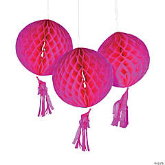 Hot Pink Honeycomb Tissue Balls with Tassel