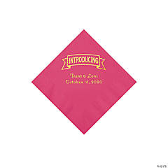 Hot Pink Introducing Personalized Napkins with Gold Foil - Beverage