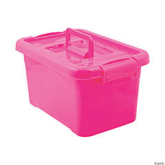 Hot Pink Large Locking Storage Bins with Lids