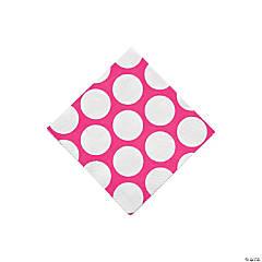 Hot Pink Large Polka Dot Beverage Napkins