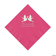 Hot Pink Love Birds Personalized Napkins - Luncheon