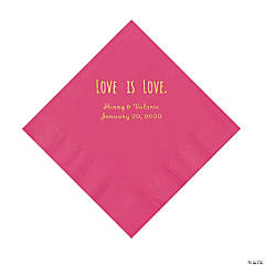 Hot Pink Love is Love Personalized Napkins with Gold Foil - Luncheon