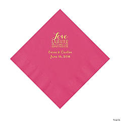 Hot Pink Love Laughter & Happily Ever After Personalized Napkins with Gold Foil – Luncheon