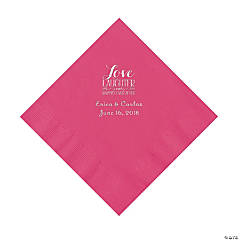 Hot Pink Love Laughter & Happily Ever After Personalized Napkins with Silver Foil – Luncheon