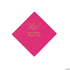 "Hot Pink ""Love"" Personalized Napkins with Gold Foil - Beverage"