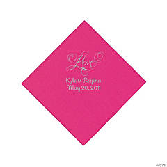 "Hot Pink ""Love"" Personalized Napkins with Silver Foil - Beverage"