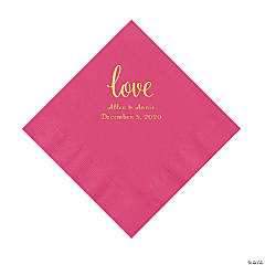 Hot Pink Love Script Personalized Napkins with Gold Foil - Luncheon