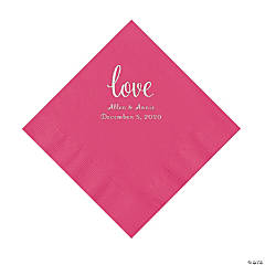Hot Pink Love Script Personalized Napkins with Silver Foil - Luncheon