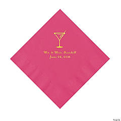 Hot Pink Martini Glass Personalized Napkins with Gold Foil - Luncheon