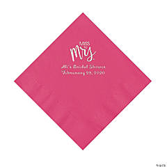 Hot Pink Miss to Mrs. Personalized Napkins with Silver Foil - Luncheon