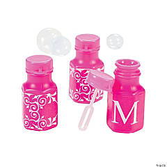 Hot Pink Personalized Monogram Wedding Mini Bubble Bottles