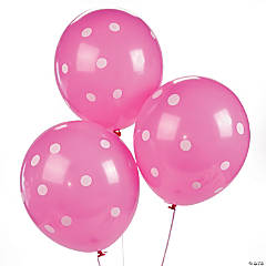 "Hot Pink Polka Dot 11"" Latex Balloons"