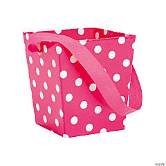 Hot Pink Polka Dot Buckets with Ribbon Handle