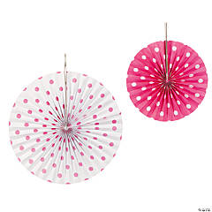 Hot Pink Polka Dot Hanging Fans