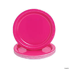 Hot Pink Round Paper Dinner Plates
