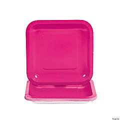 Hot Pink Square Paper Dessert Plates