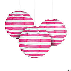Hot Pink Striped Hanging Paper Lanterns