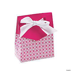 Hot Pink Tent Favor Boxes With Bow