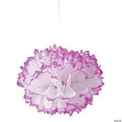 Hot Pink-Tipped Tissue Pom-Pom Decorations