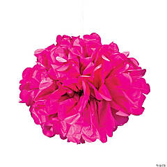 hot pink tissue paper pom pom decorations - Breast Cancer Decorations