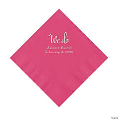 Hot Pink We Do Personalized Napkins with Silver Foil - Luncheon