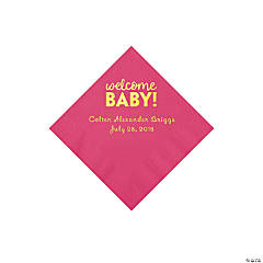 Hot Pink Welcome Baby Personalized Napkins with Gold Foil - Beverage