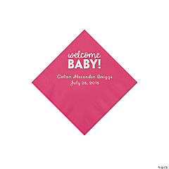 Hot Pink Welcome Baby Personalized Napkins with Silver Foil - Beverage