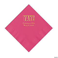 Hot Pink Yay Personalized Napkins with Gold Foil - Luncheon
