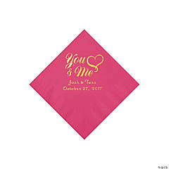 Hot Pink You & Me Heart Personalized Napkins with Gold Foil - Beverage