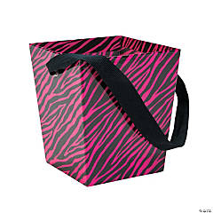 Hot Pink Zebra Buckets with Ribbon Handle