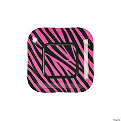 Hot Pink Zebra Dessert Plates