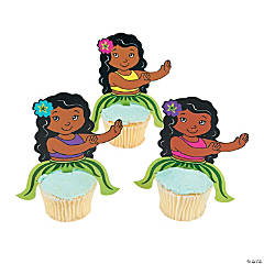 Hula Girl Character Cupcake Picks