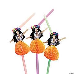 Hula Girl Plastic Straws