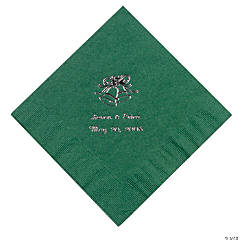 Hunter Green Wedding Personalized Luncheon Napkins with Silver Print