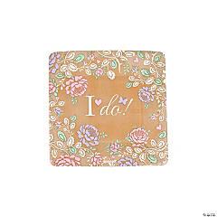 I Do Floral Paper Dessert Plates