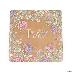 I Do Floral Paper Dinner Plates